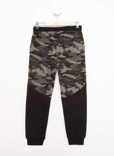 DeFacto Kamuflaj Desenli Renk Bloklu Slim Fit Jogger Pantolon Siyah